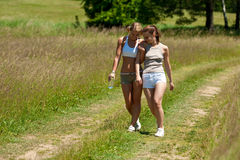 Spring - Female couple walking in nature Stock Image