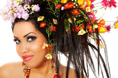 Spring female portrait. Portrait of a beautiful female with flowers in her hair stock photos