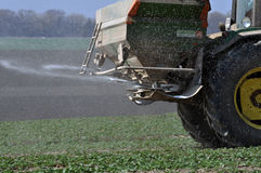 Spring fertilizing fertilizers_9. Chortkiv - Ternopil - Ukraine - April 1, 2017. Spring fertilizing fertilizers sowing winter rape in the private agribusiness in Stock Photo