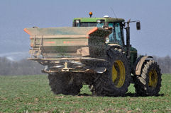 Spring fertilizing fertilizers_12. Chortkiv - Ternopil - Ukraine - April 1, 2017. Spring fertilizing fertilizers sowing winter rape in the private agribusiness Stock Photography