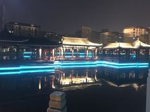 Chinese architecture at night Royalty Free Stock Photo