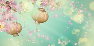 Spring Festival Background. Traditional spring festival background with flying petals and silk lanterns. Flowers and petals in the wind. Chinese New Year royalty free illustration