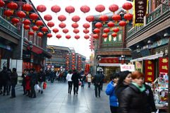 Spring festival commercial street. The commercial  street decorated with traditional Chinese  red lanterns Tianjin China photoed on january 18th 2014 Royalty Free Stock Images
