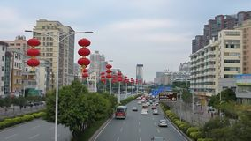 The Spring Festival is coming, the red lanterns hanging on the city roads stock video footage