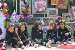 Spring festival of flowers, school festival in Baku city. Birthday of the national leader Heydar Aliyev Royalty Free Stock Photos