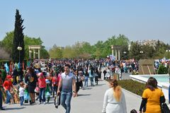 Spring festival of flowers, school festival in Baku city Stock Photography