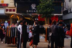 Shenzhen, China: stalls on pedestrian street, sale of handicrafts and other commodities. The Spring Festival is near, Xixiang pedestrian street stalls the royalty free stock images