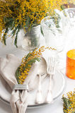 Spring festive dining table setting Royalty Free Stock Photos