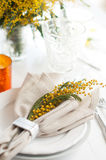 Spring festive dining table setting. With yellow mimosa flowers, candles, napkins and vintage cutlery on a white wooden board Royalty Free Stock Image