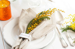 Spring festive dining table setting Stock Photography