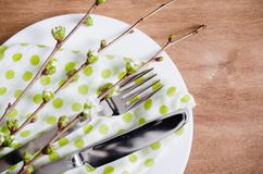Spring Festive Table Setting with Cutlery. Spring Festive Table Setting with Flowering Branch Cherries, Cutlery and Napkin on Wooden Rustic Table. Selective Stock Photos