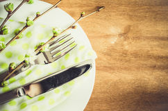 Spring Festive Table Setting with Cutlery. Stock Photos