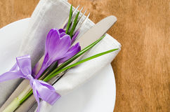 Spring Festive Table Setting With Fresh Flower. Stock Photography