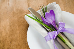 Spring Festive Table Setting With Fresh Flower. Stock Images