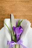 Spring Festive Table Setting With Fresh Flower. Royalty Free Stock Photos