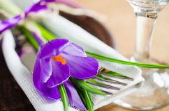 Spring Festive Table Setting With Fresh Flower. Royalty Free Stock Photography