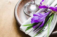 Spring Festive Table Setting With Fresh Flower. Stock Photo