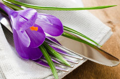 Spring Festive Table Setting With Fresh Flower. Royalty Free Stock Image