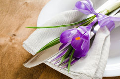 Spring Festive Table Setting With Fresh Flower. Royalty Free Stock Images