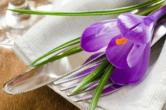 Spring Festive Table Setting With Fresh Flower. Royalty Free Stock Photo