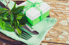 Spring Festive Table Setting with Present. Stock Image