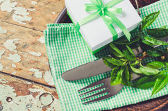 Spring Festive Table Setting in Rustic Style. Stock Image