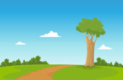 Spring Field. Illustration of a cartoon tree inside spring field with way to walk Royalty Free Stock Photos