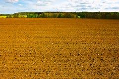 Spring  Field. Spring Plowed Field- Belgian Landscape Stock Photo