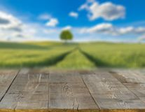 Spring field blurred background of rural landscape  and desk Royalty Free Stock Photography