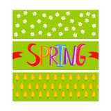 Spring field and word banner set vector illustration