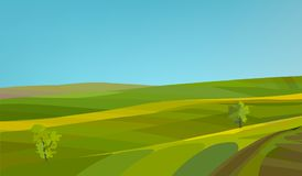 Spring fields background before sowing. Country landscape with fields before sowing Stock Photography