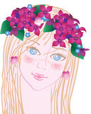 Spring fine girl. With lilac on head Royalty Free Stock Photos