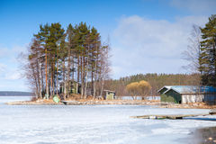 Spring Finnish landscape. Coast of Saimaa Stock Photo