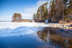 Spring Finnish landscape, Saimaa lake Royalty Free Stock Image