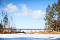 Spring Finnish landscape. Saimaa lake Royalty Free Stock Images