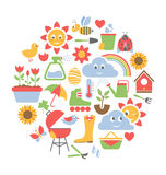 Spring flat icons in circle isolated on white Royalty Free Stock Photos
