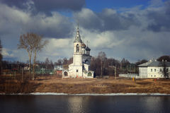 Spring flood church on the bank Royalty Free Stock Photo