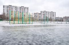 Spring flood in a city. Melting snow, Europe Stock Photography
