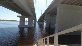 Spring . Flood. descent to the water under the bridge. Spring . Flood. descent to the water under the bridge stock video footage