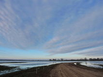 Spring flood in fields, Lithuania Royalty Free Stock Photo
