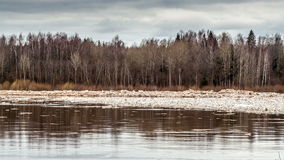 Spring flood ice drift stock footage