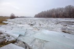 Spring flood, ice floes on the river Stock Images