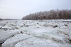 Spring flood, ice floes on the river Royalty Free Stock Photography