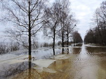 Spring flood , Lithuania Stock Images