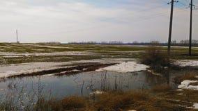 Spring flood near the field stock photos