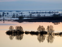 Spring flood on Oka River Royalty Free Stock Images