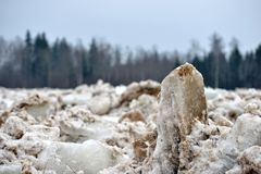 Spring flood threat. The ice jam on the river. Spring flood threat. The ice jam on the river royalty free stock photography
