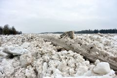 Spring flood threat. The ice jam on the river. Spring flood threat. The ice jam on the river stock images
