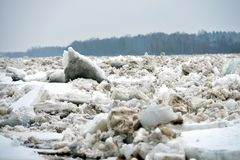 Spring flood threat. The ice jam on the river. Spring flood threat. The ice jam on the river stock image