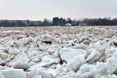 Spring flood threat. The ice jam on the river. Spring flood threat. The ice jam on the river stock photos